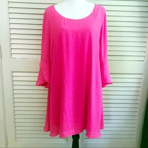 Hot pink dress tulip sleeves XL My Michelle bright